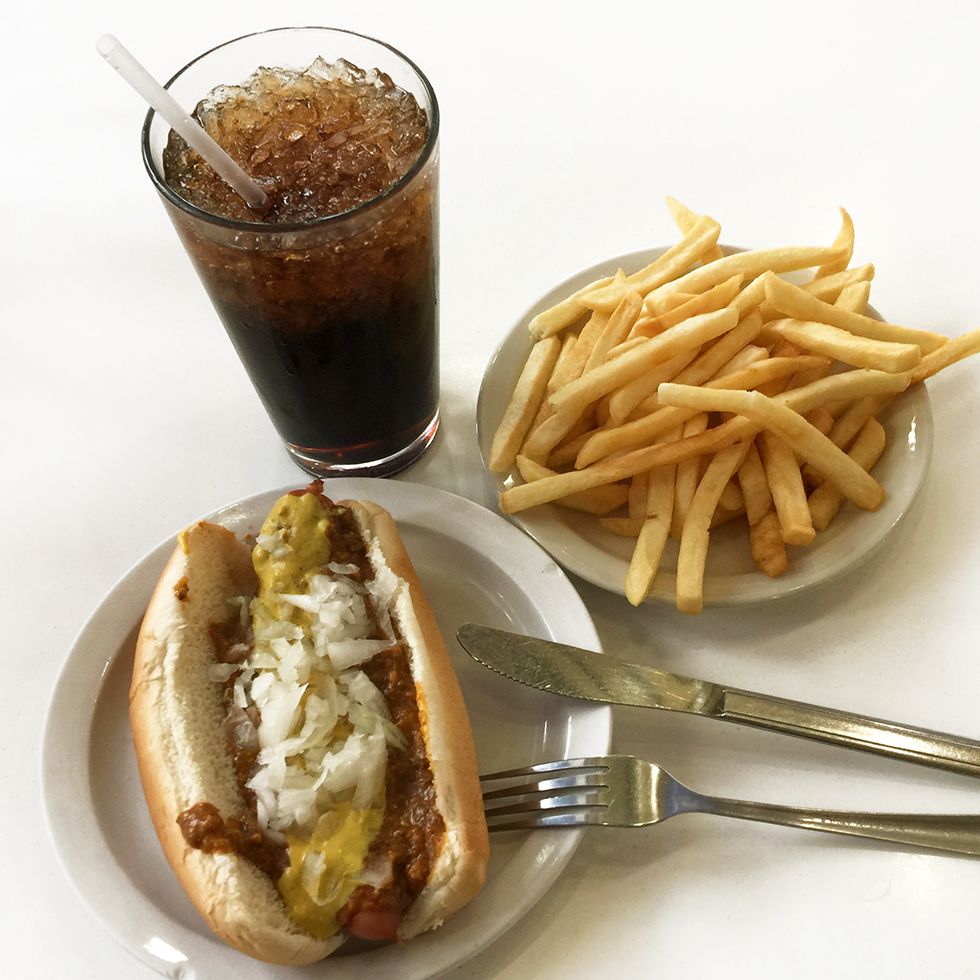 Coney Island Dog, fries and a Dr. Pepper at American Coney Island | Detroit, Michigan