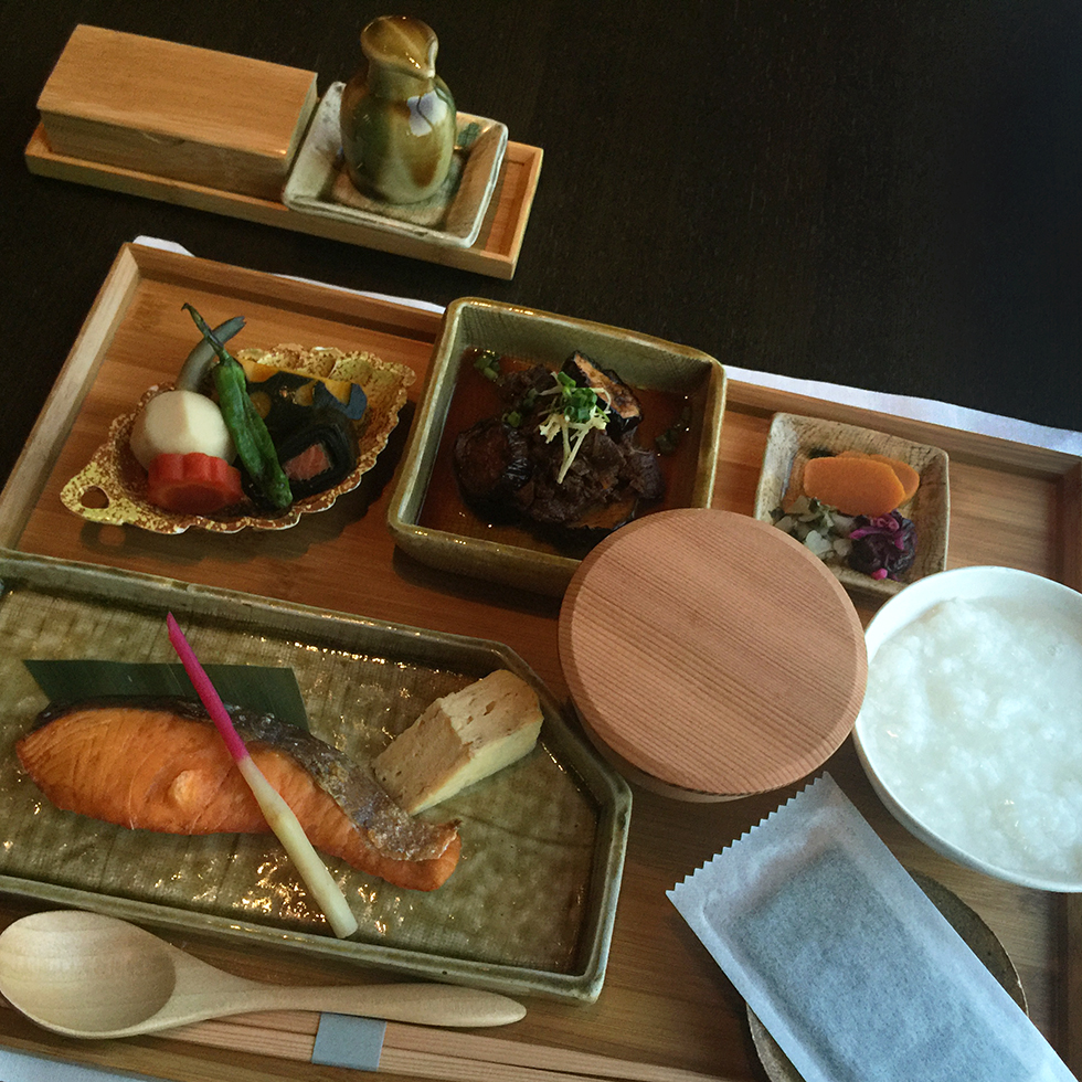 Japanese breakfast consisting of Kyoto pickles, salmon, congee, miso soup and sweet beef & eggplant | Tokyo, Japan