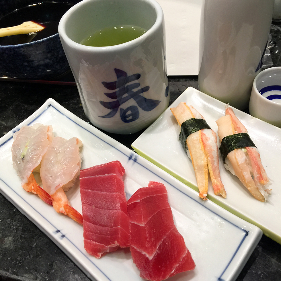 Raw shrimp, tuna and crab leg sushi at Harukoma | Osaka, Japan