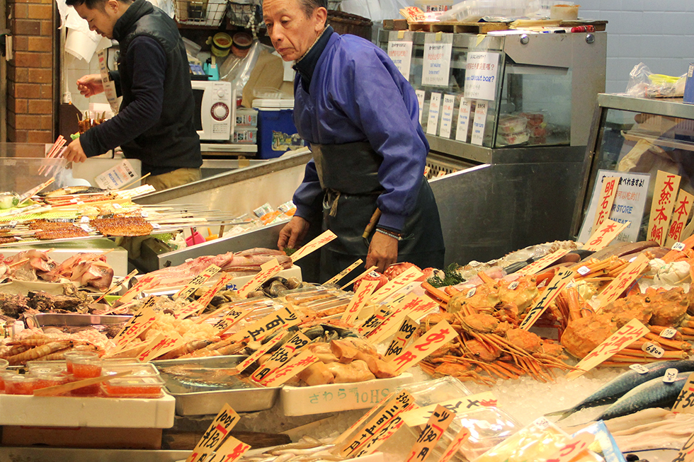 Fish vendor at Nishiki Market | Kyoto, Japan