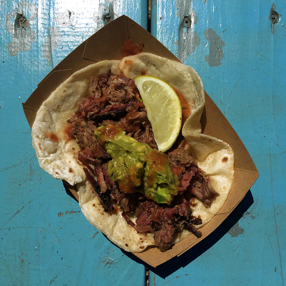 Brisket and guacamole taco from Valentina's Tex Mex BBQ | Austin, Texas