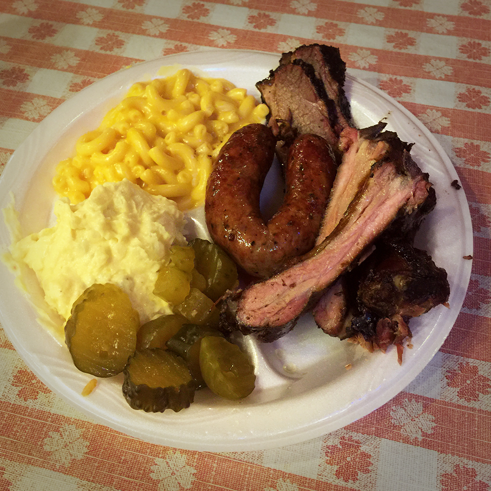 Baby back, brisket, jalapeno link, mac an potato salad at Black's | Lockhart, Texas