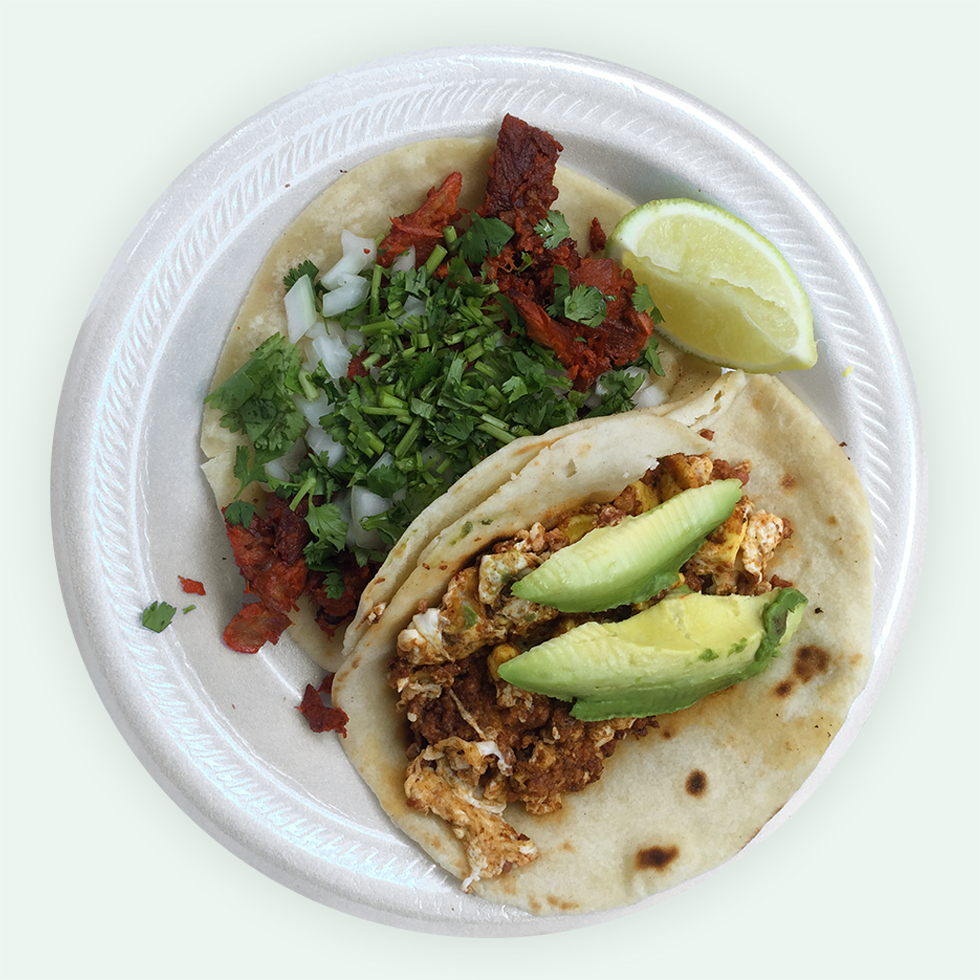 Al pastor taco and chorizo breakfast taco from Rosita's Al Pastor Truck | Austin, Texas