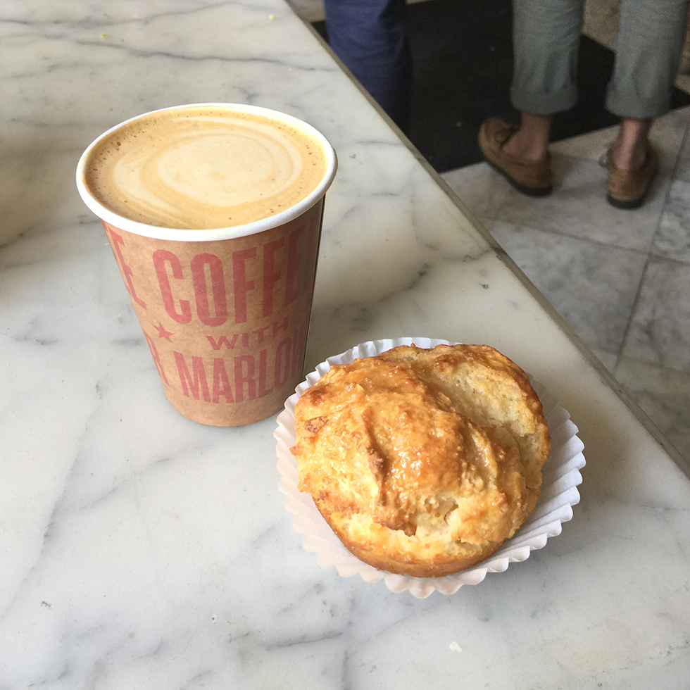 Cappuccino and a honey butter biscuit at Marlow & Sons Cafe | Brooklyn, New York