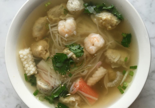 P.T.B. Wonton Soup With Added Seafood Combination At Pho Tau Bay | New Orleans, Louisiana