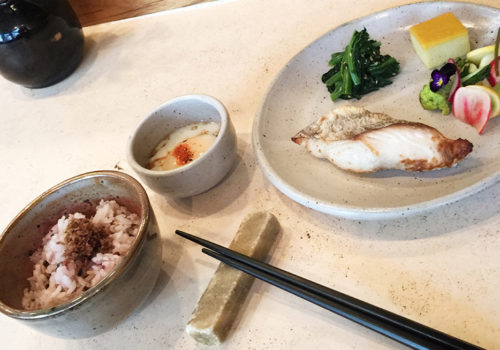 Ichiju Sansai Set For Breakfast Featuring Mackerel, Runny Egg And Pickles At Okonomi | Brooklyn, New York