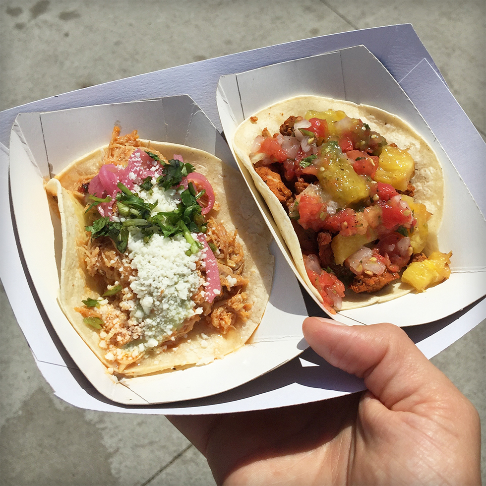 Pollo guisado and chorizo tacos from Oaxaca Tacos at Smorgasburg | Brooklyn, New York