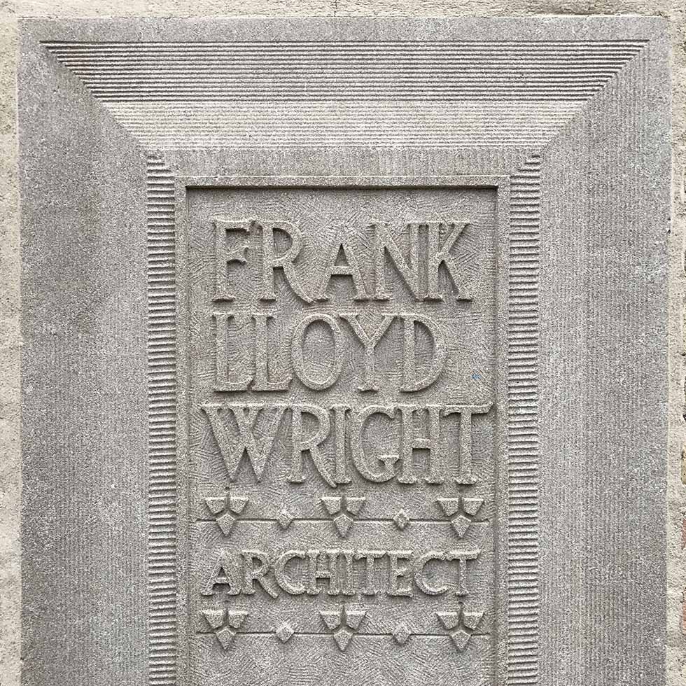 Placard outside Frank Lloyd Wright's Oak Park studio | Chicago, Illinois