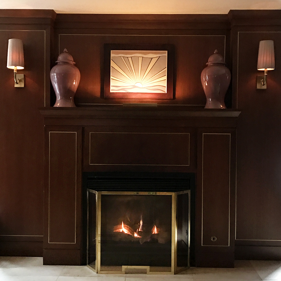 Lobby fireplace at Sunset Tower Hotel | Los Angeles, California